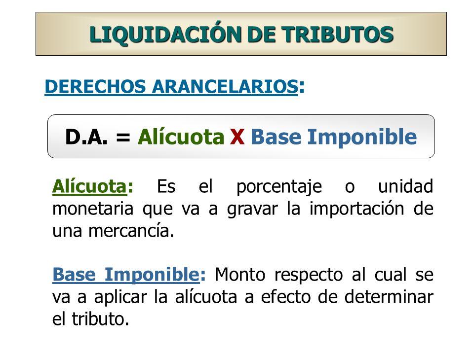 DERECHOS ARANCELARIOS: