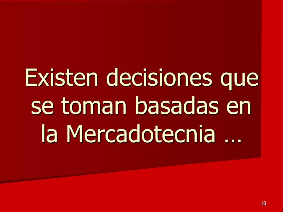 Existen decisiones que se toman basadas en la Mercadotecnia …