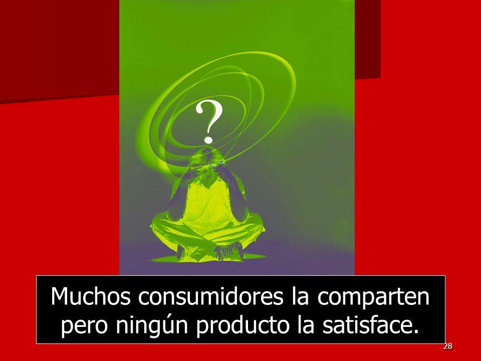 Muchos consumidores la comparten pero ningún producto la satisface.