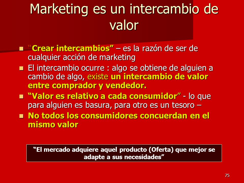 Marketing es un intercambio de valor