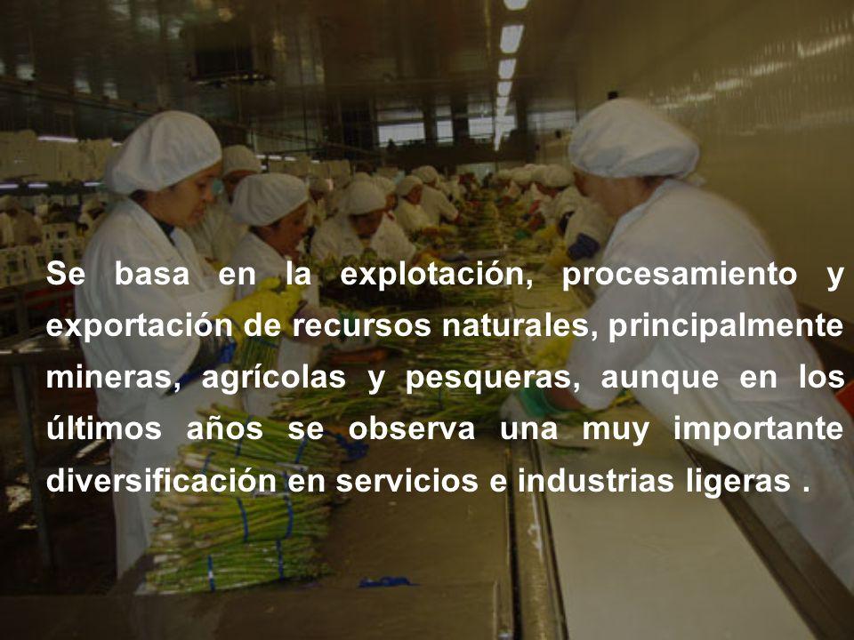 Se basa en la explotación, procesamiento y exportación de recursos naturales, principalmente mineras, agrícolas y pesqueras, aunque en los últimos años se observa una muy importante diversificación en servicios e industrias ligeras .