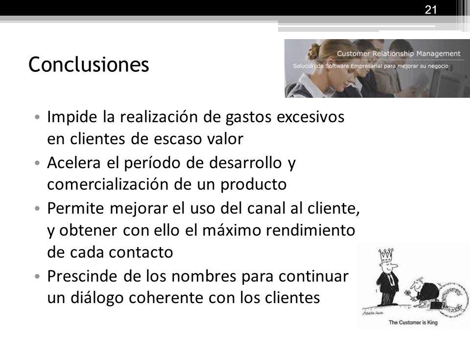 21 Conclusiones. Impide la realización de gastos excesivos en clientes de escaso valor.