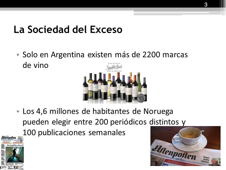 3 La Sociedad del Exceso. Solo en Argentina existen más de 2200 marcas de vino.