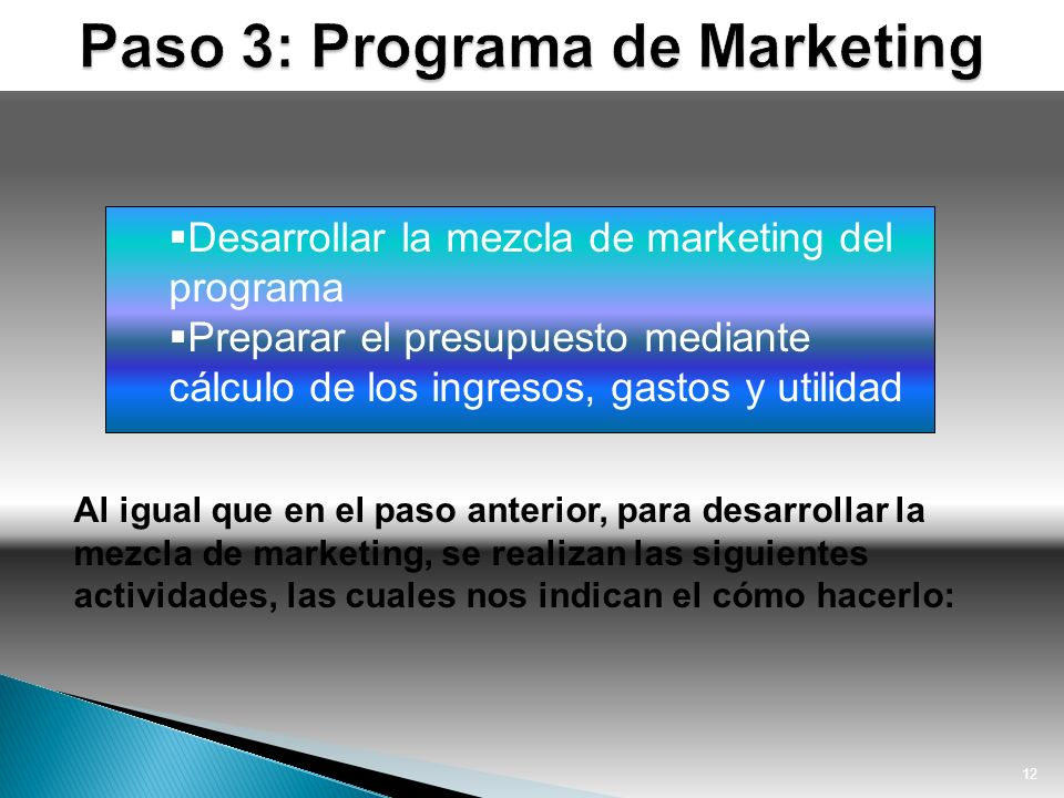 Paso 3: Programa de Marketing