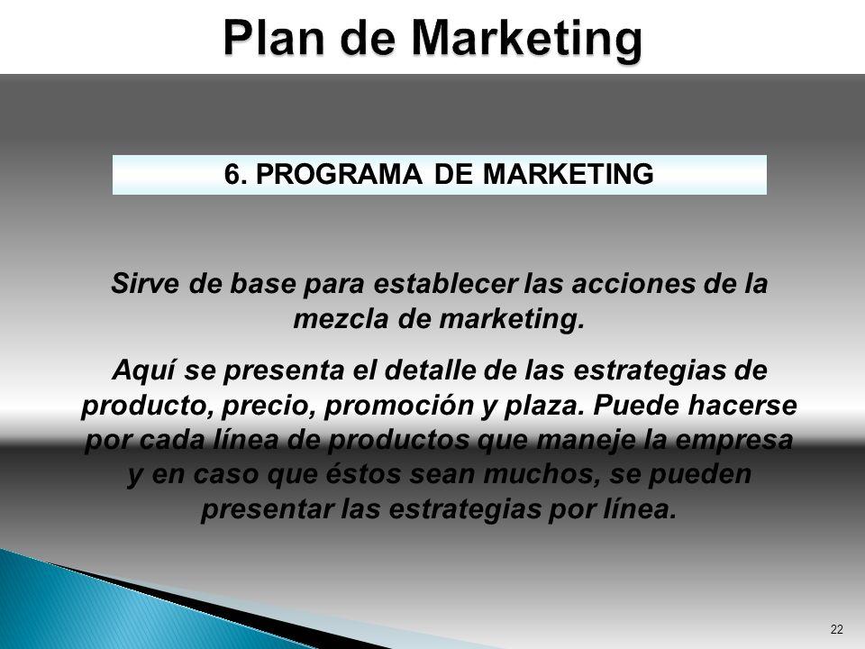 Sirve de base para establecer las acciones de la mezcla de marketing.