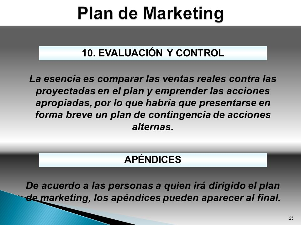 Plan de Marketing 10. EVALUACIÓN Y CONTROL