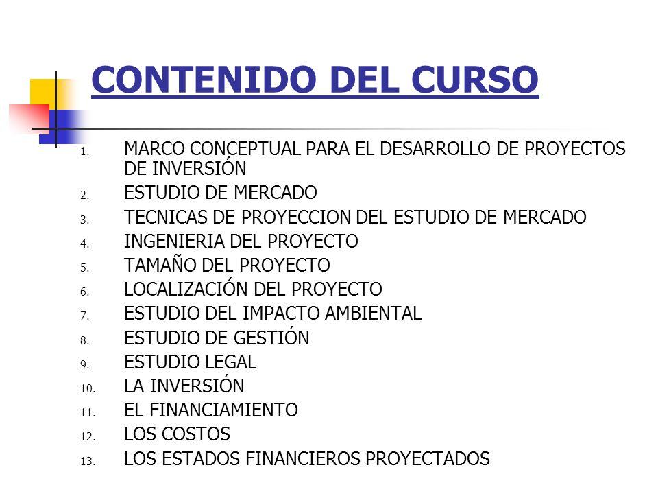 CONTENIDO DEL CURSO MARCO CONCEPTUAL PARA EL DESARROLLO DE PROYECTOS DE INVERSIÓN. ESTUDIO DE MERCADO.