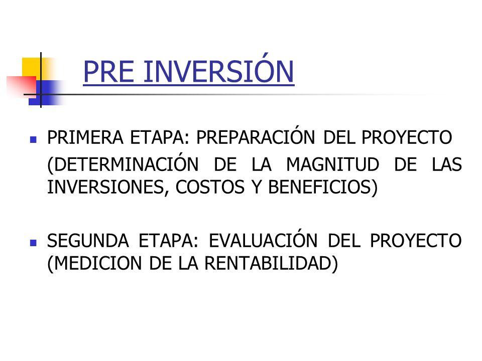 PRE INVERSIÓN PRIMERA ETAPA: PREPARACIÓN DEL PROYECTO