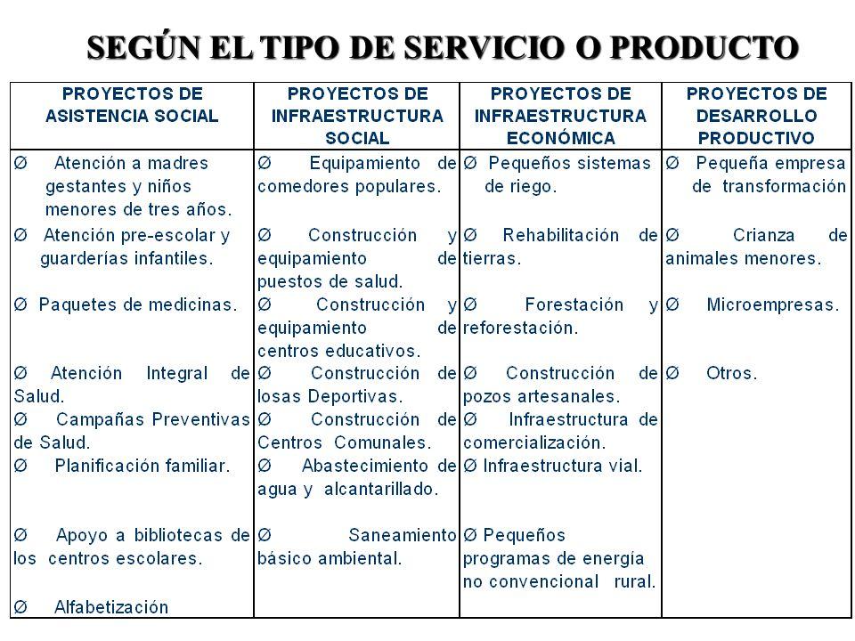SEGÚN EL TIPO DE SERVICIO O PRODUCTO