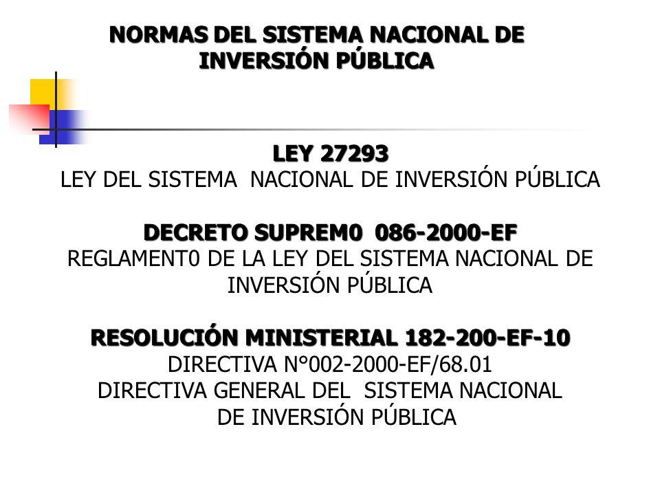 NORMAS DEL SISTEMA NACIONAL DE RESOLUCIÓN MINISTERIAL 182-200-EF-10