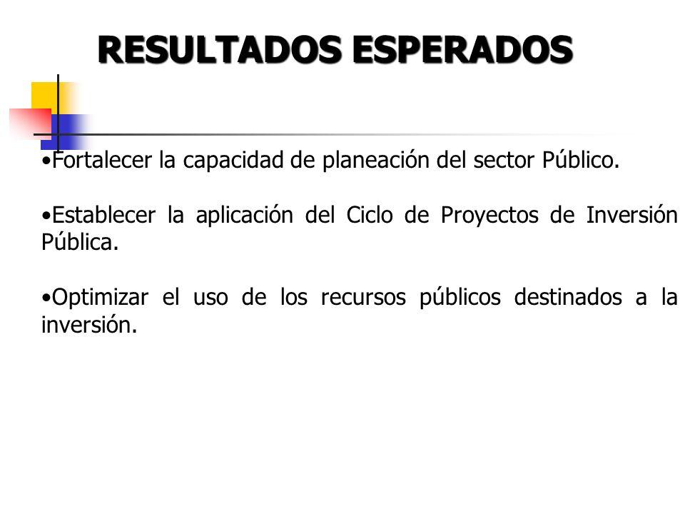RESULTADOS ESPERADOS Fortalecer la capacidad de planeación del sector Público.