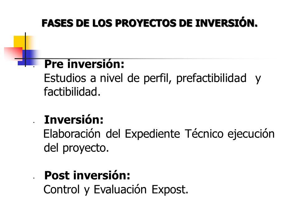 FASES DE LOS PROYECTOS DE INVERSIÓN.