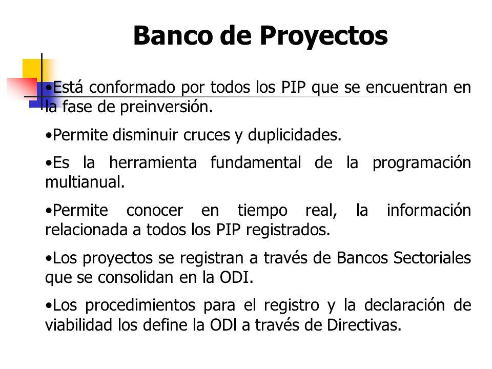 Banco de Proyectos Está conformado por todos los PIP que se encuentran en la fase de preinversión.