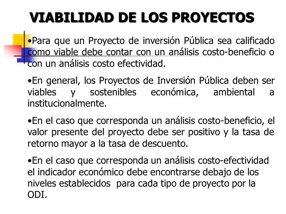 VIABILIDAD DE LOS PROYECTOS