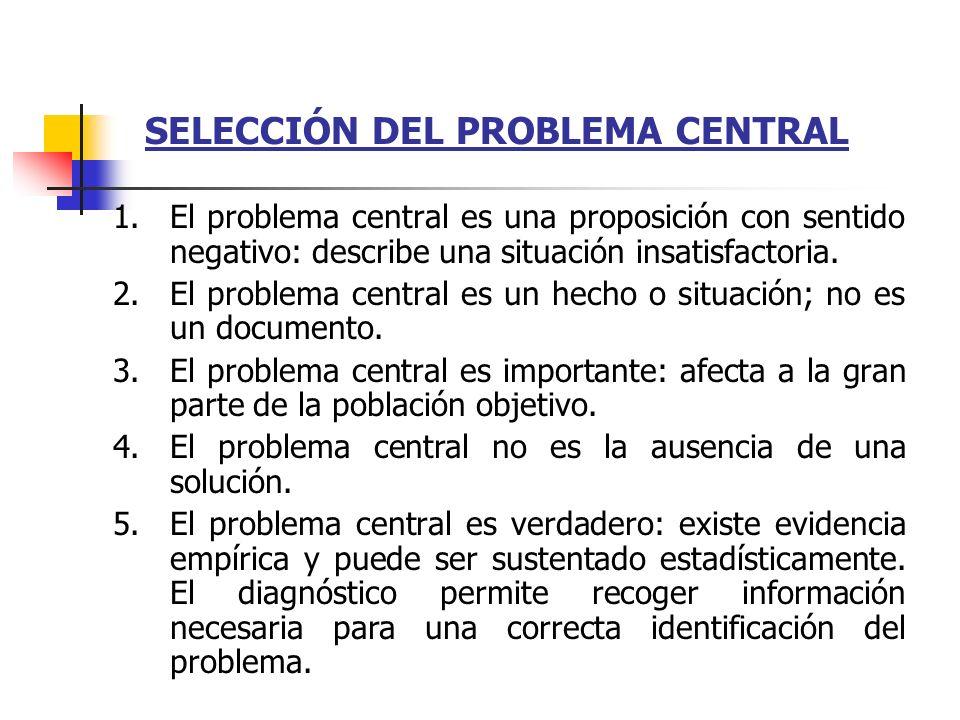 SELECCIÓN DEL PROBLEMA CENTRAL