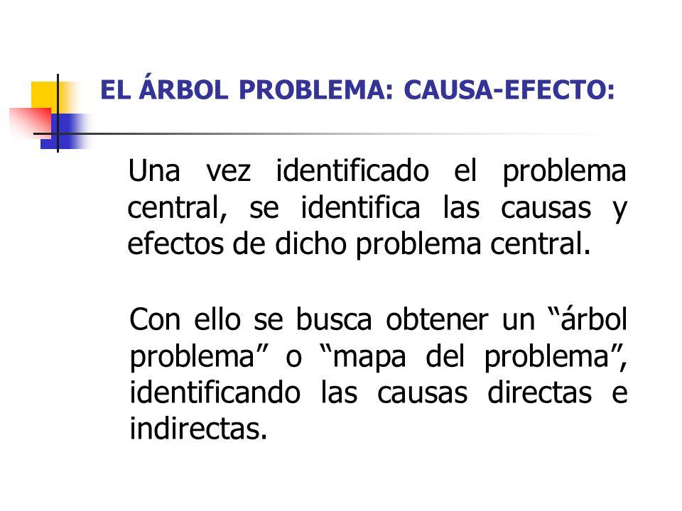 EL ÁRBOL PROBLEMA: CAUSA-EFECTO: