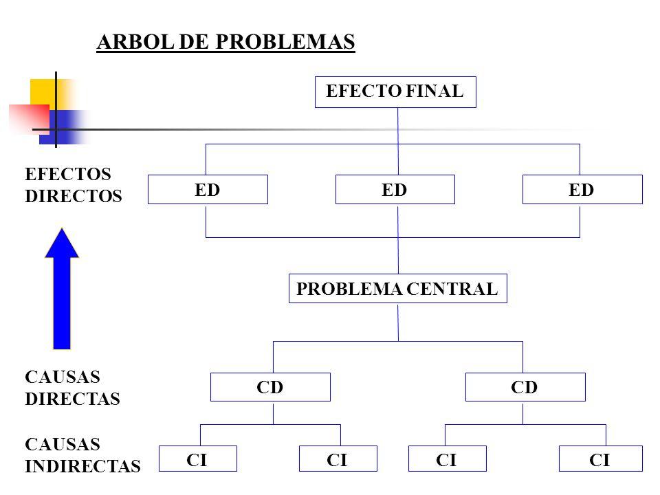 ARBOL DE PROBLEMAS EFECTO FINAL EFECTOS DIRECTOS ED ED ED