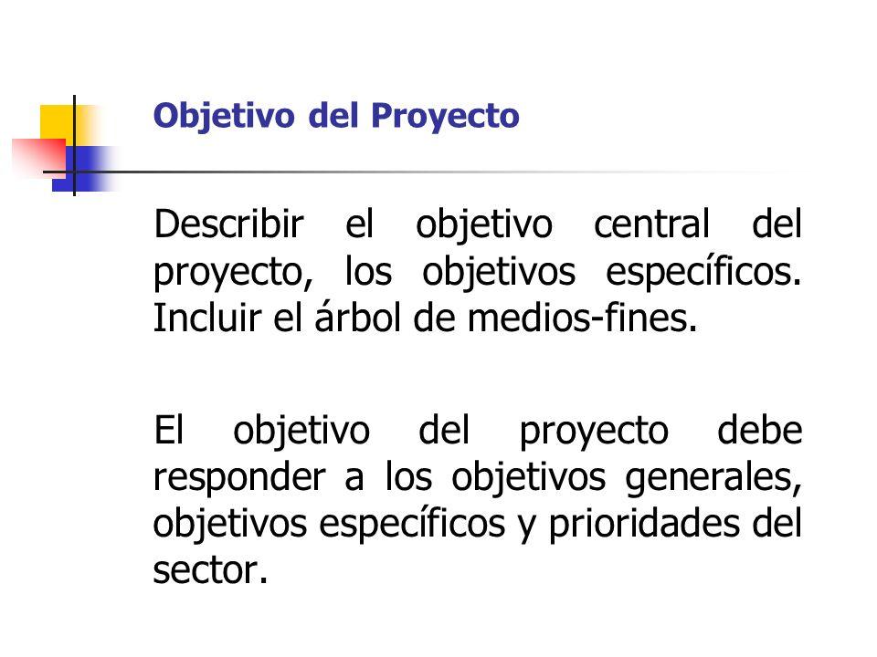 Objetivo del ProyectoDescribir el objetivo central del proyecto, los objetivos específicos. Incluir el árbol de medios-fines.