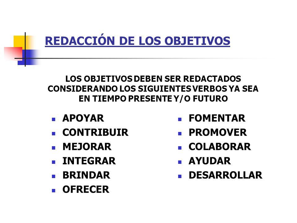 REDACCIÓN DE LOS OBJETIVOS