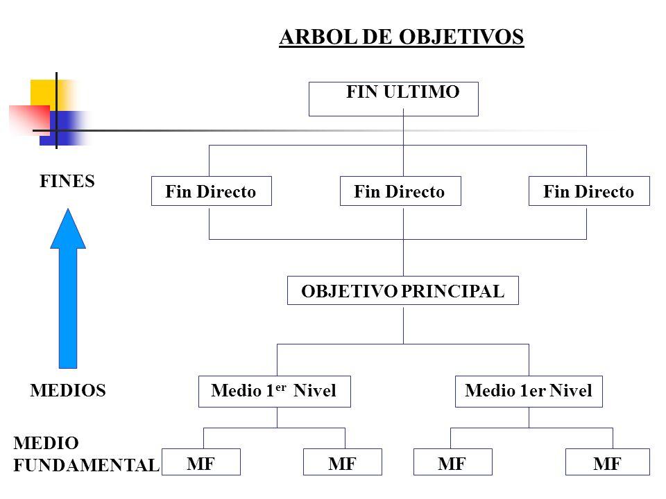 ARBOL DE OBJETIVOS FIN ULTIMO FINES Fin Directo Fin Directo