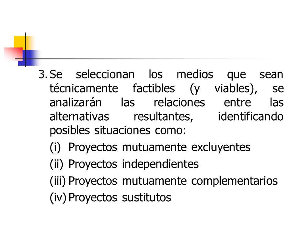 3. Se seleccionan los medios que sean técnicamente factibles (y viables), se analizarán las relaciones entre las alternativas resultantes, identificando posibles situaciones como: