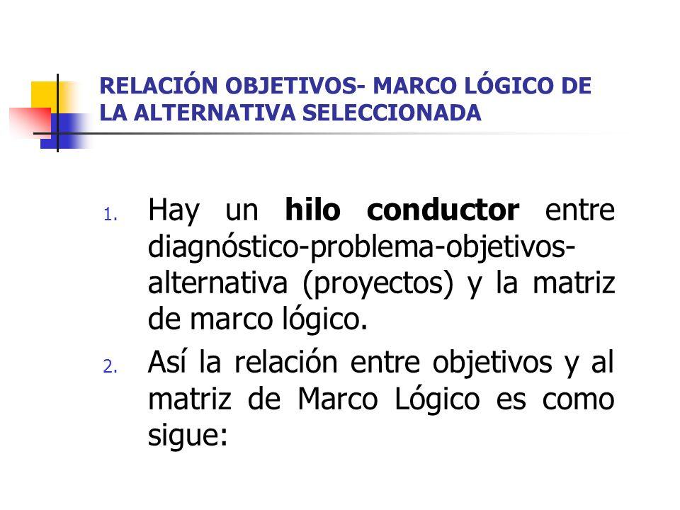 RELACIÓN OBJETIVOS- MARCO LÓGICO DE LA ALTERNATIVA SELECCIONADA