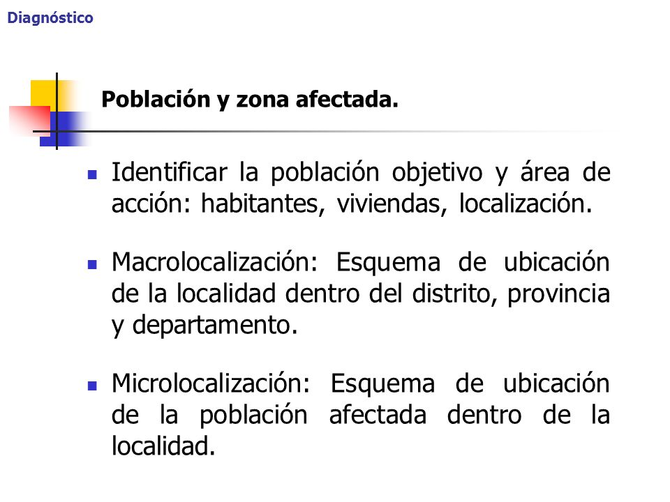 Diagnóstico Población y zona afectada. Identificar la población objetivo y área de acción: habitantes, viviendas, localización.