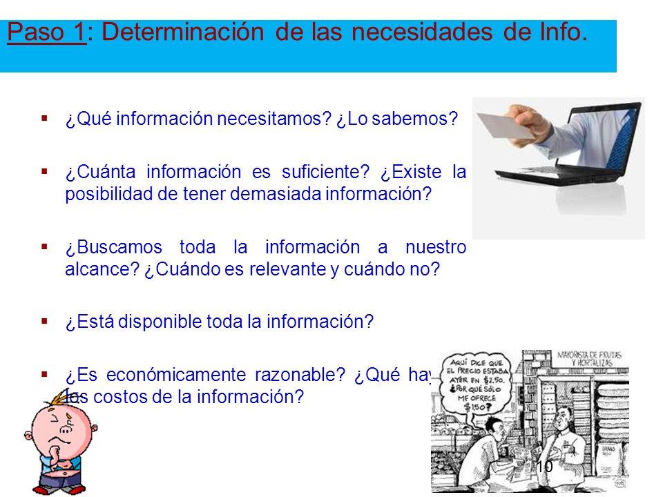Paso 1: Determinación de las necesidades de Info.