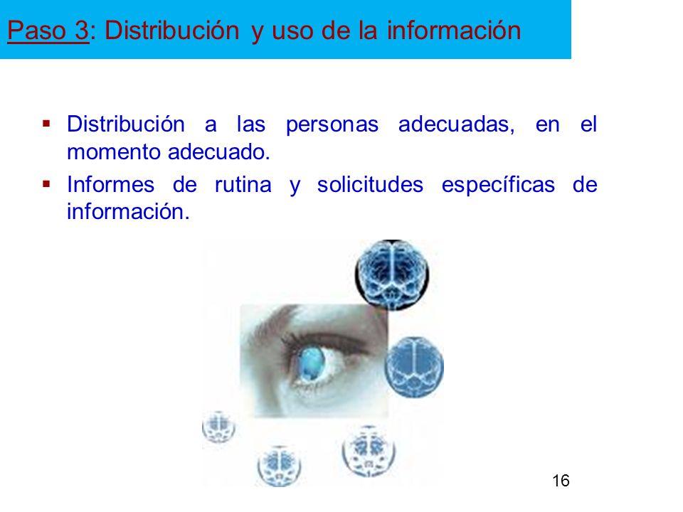 Paso 3: Distribución y uso de la información