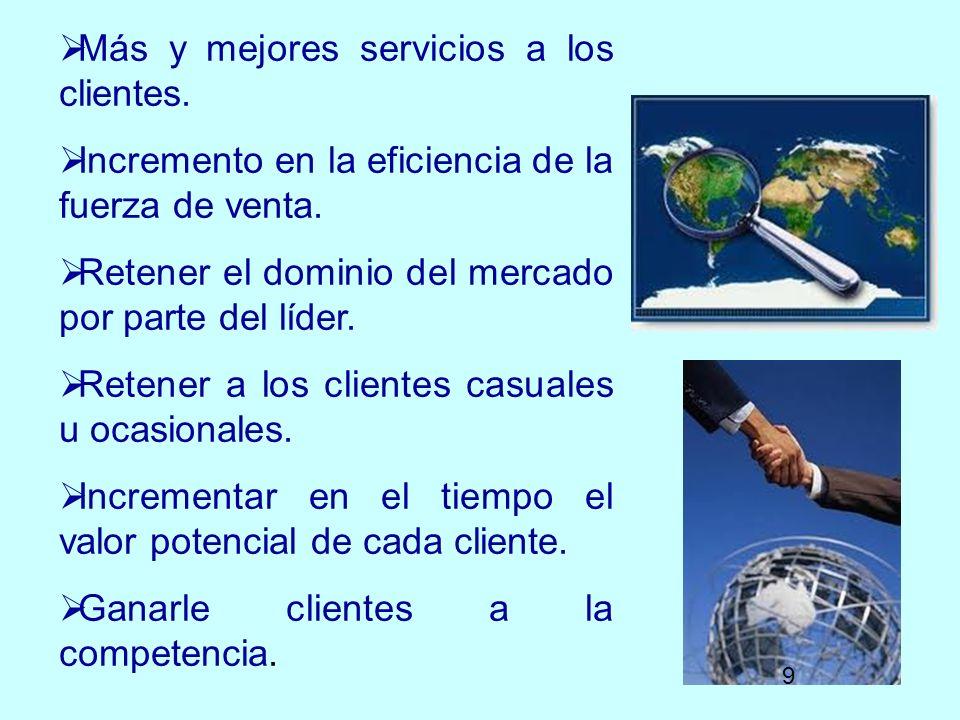 Más y mejores servicios a los clientes.