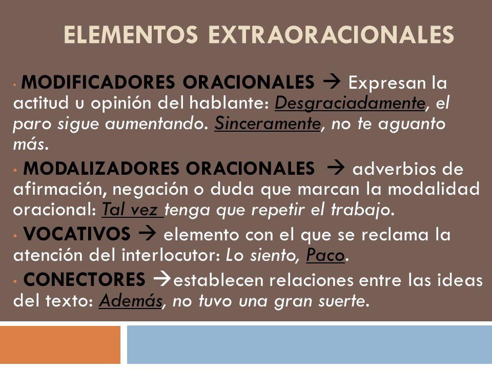 Elementos extraoracionales