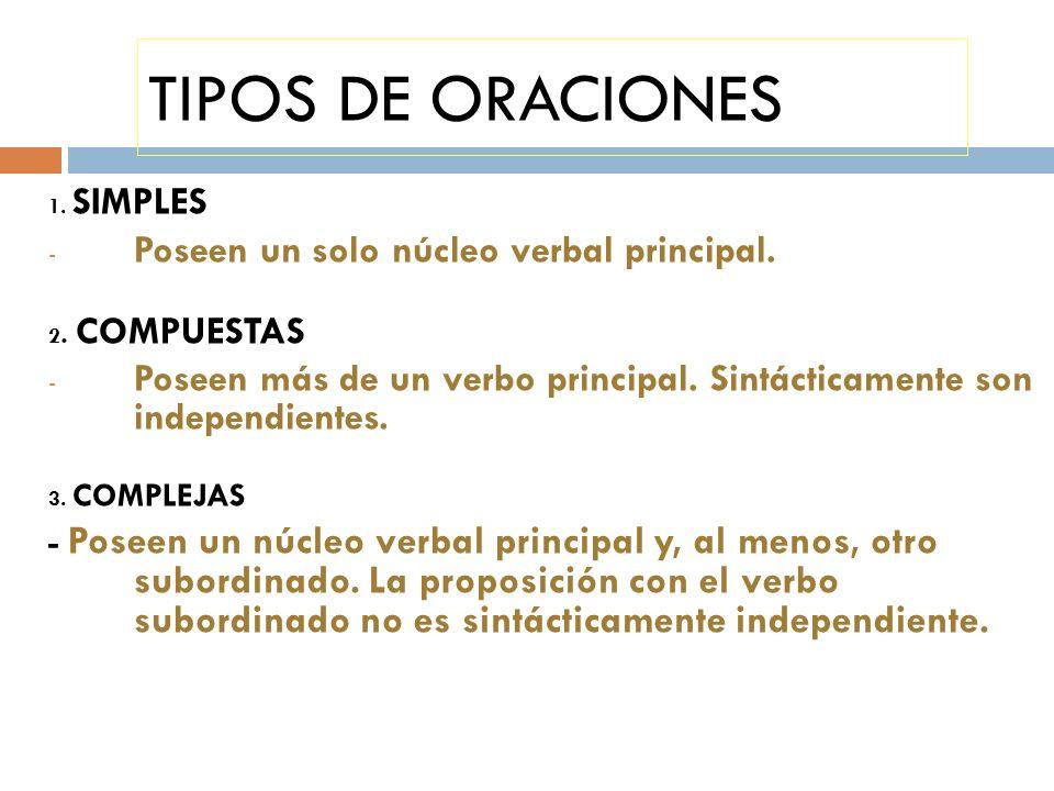 TIPOS DE ORACIONES Poseen un solo núcleo verbal principal.