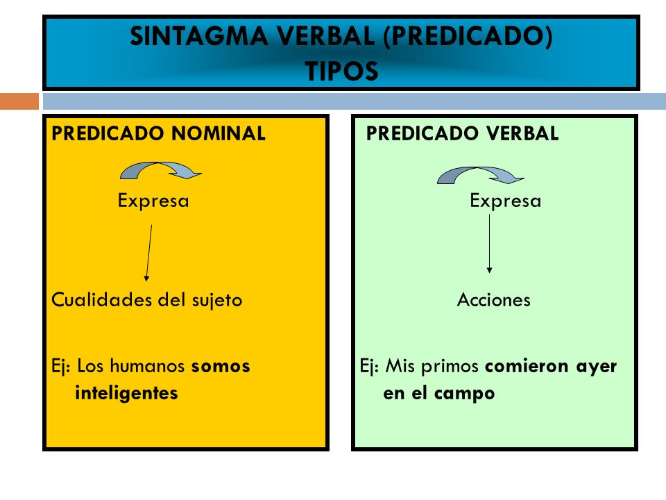 SINTAGMA VERBAL (PREDICADO) TIPOS