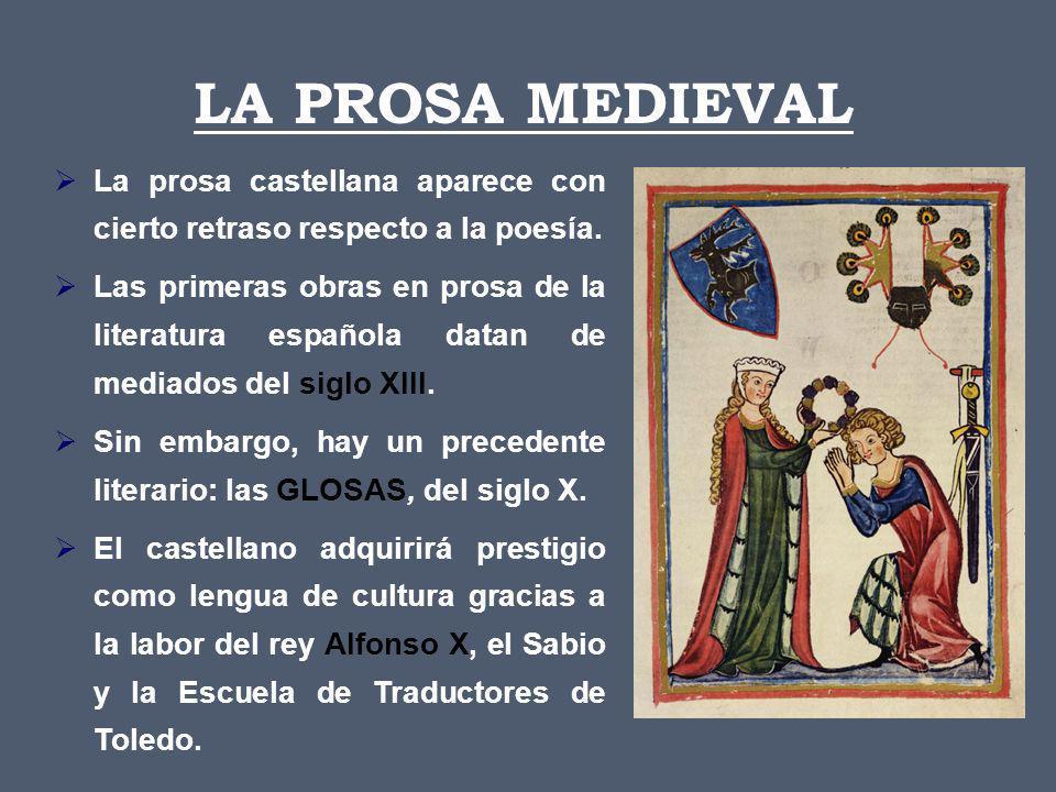 LA PROSA MEDIEVAL La prosa castellana aparece con cierto retraso respecto a la poesía.