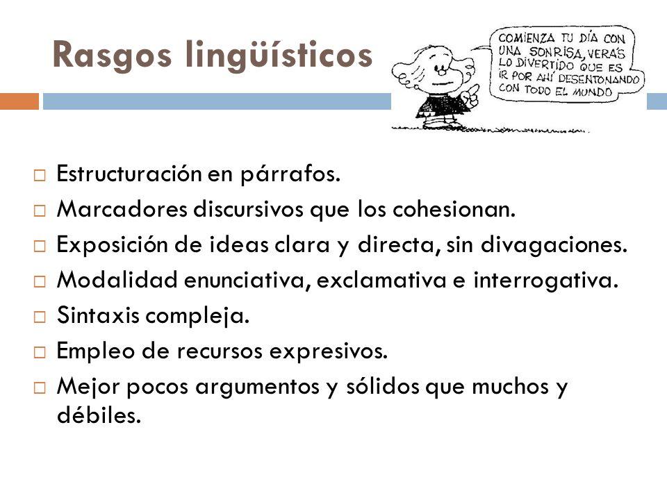 Rasgos lingüísticos Estructuración en párrafos.