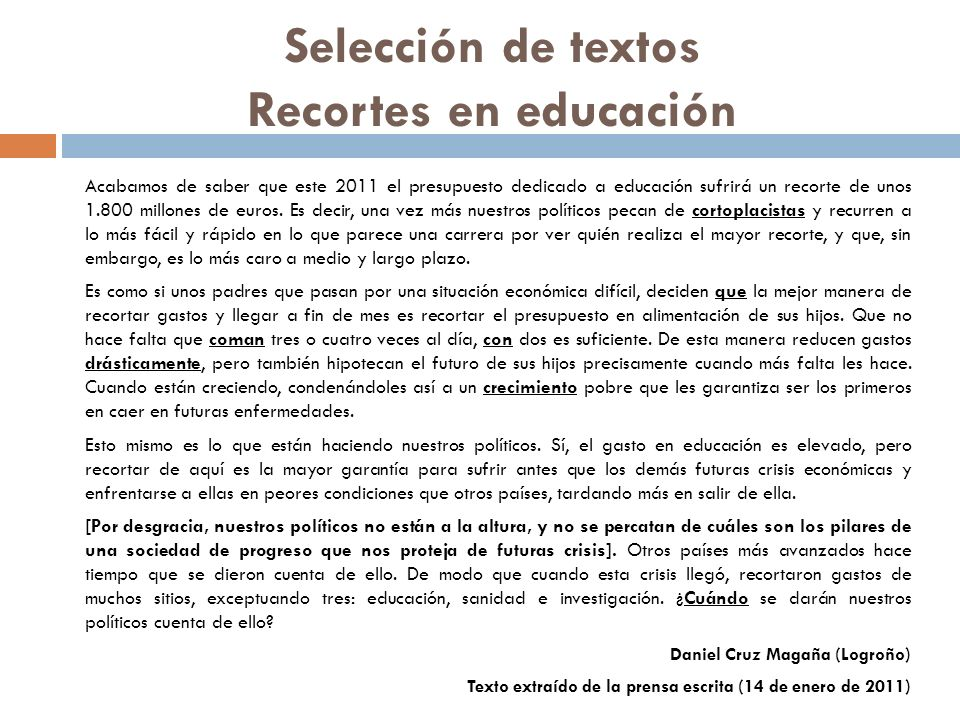 Selección de textos Recortes en educación