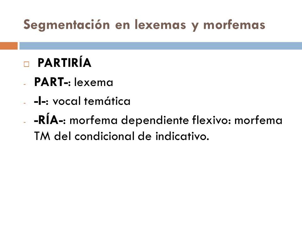 Segmentación en lexemas y morfemas