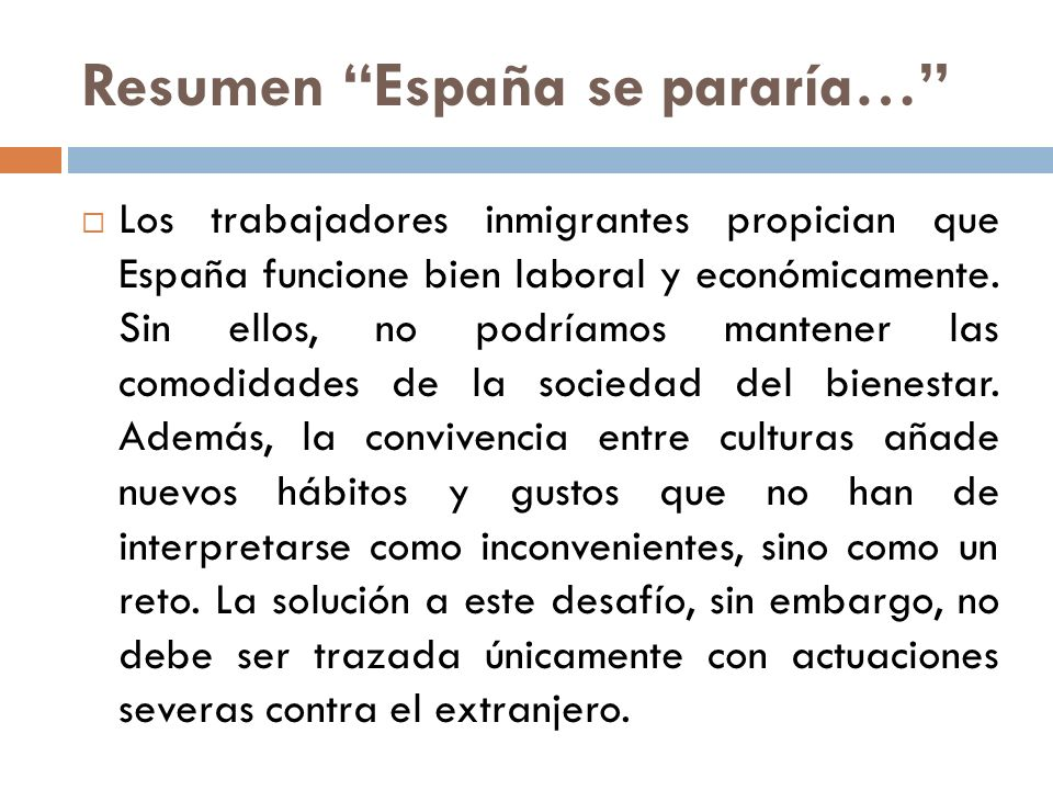 Resumen España se pararía…