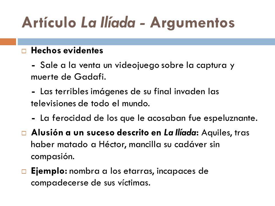Artículo La Ilíada - Argumentos