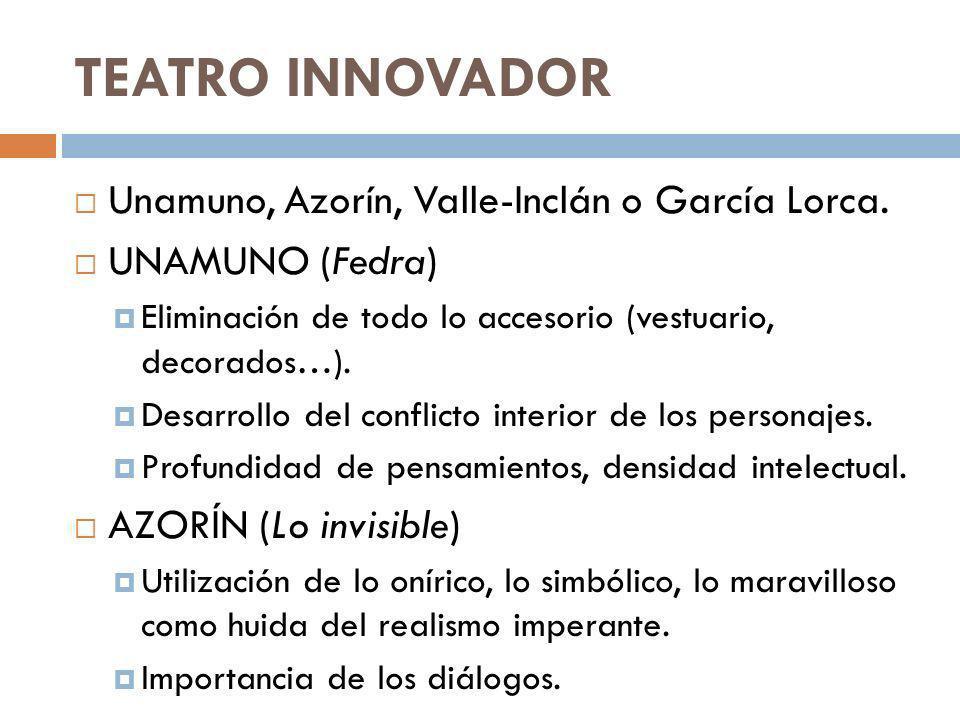 TEATRO INNOVADOR Unamuno, Azorín, Valle-Inclán o García Lorca.