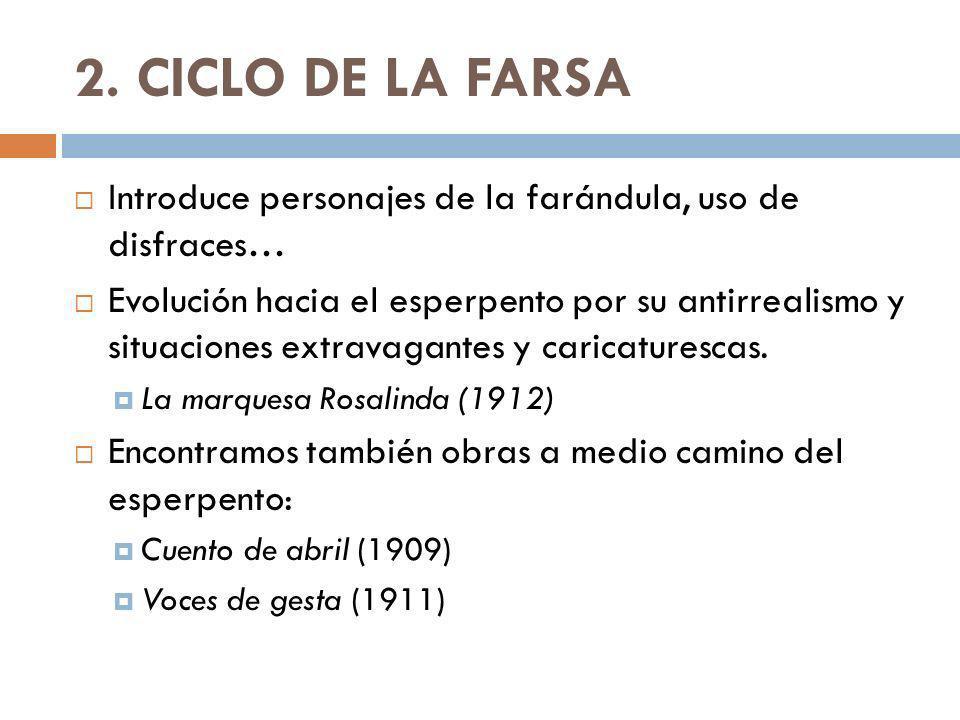 2. CICLO DE LA FARSA Introduce personajes de la farándula, uso de disfraces…