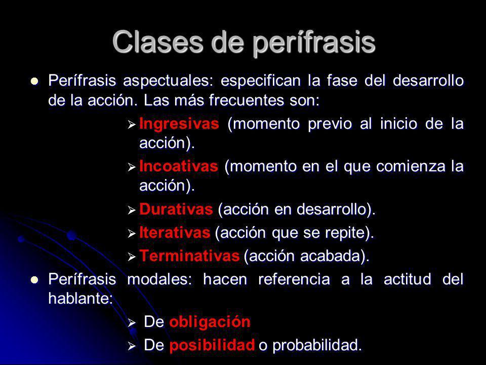 Clases de perífrasis Perífrasis aspectuales: especifican la fase del desarrollo de la acción. Las más frecuentes son: