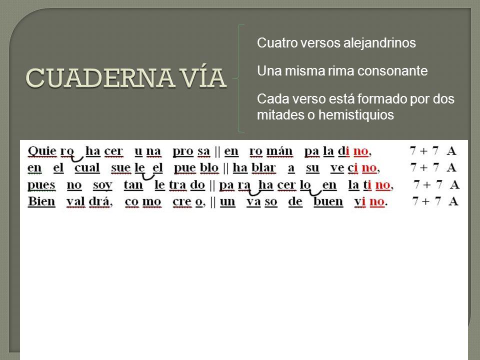 CUADERNA VÍA Cuatro versos alejandrinos Una misma rima consonante