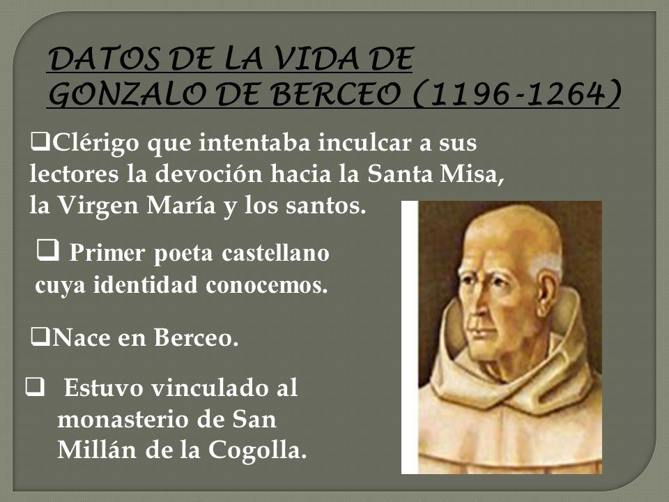 DATOS DE LA VIDA DE GONZALO DE BERCEO (1196-1264)