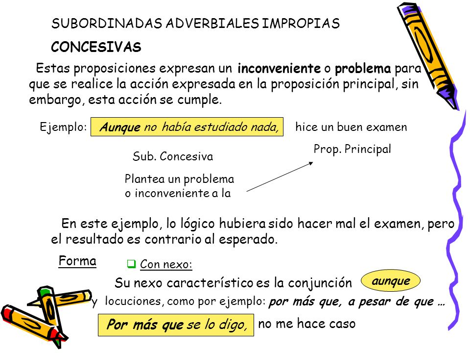 SUBORDINADAS ADVERBIALES IMPROPIAS CONCESIVAS