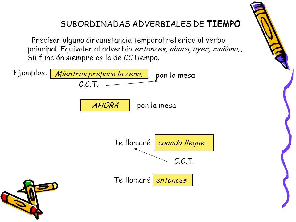 SUBORDINADAS ADVERBIALES DE TIEMPO