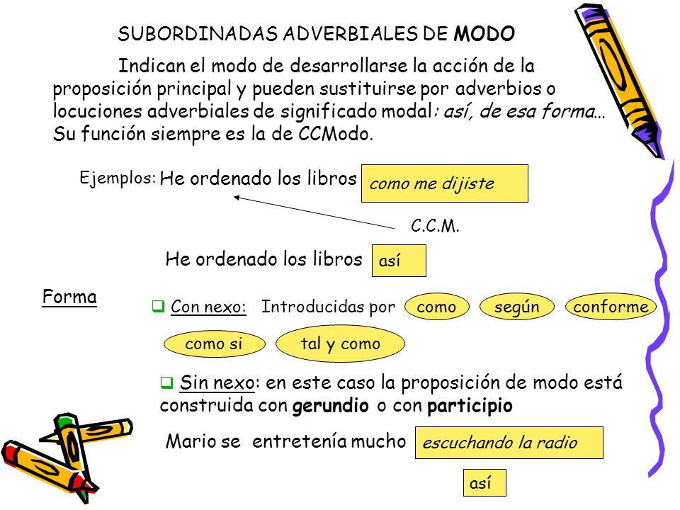 SUBORDINADAS ADVERBIALES DE MODO