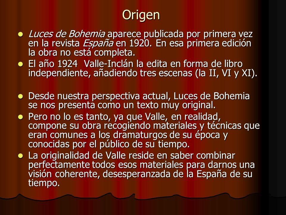 Origen Luces de Bohemia aparece publicada por primera vez en la revista España en 1920. En esa primera edición la obra no está completa.