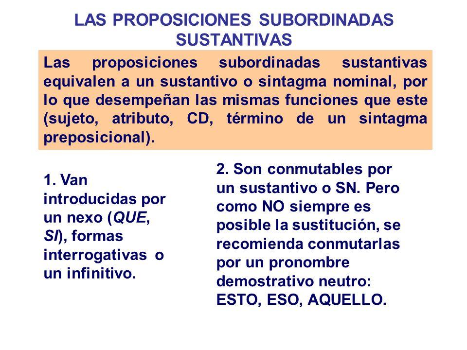 LAS PROPOSICIONES SUBORDINADAS SUSTANTIVAS