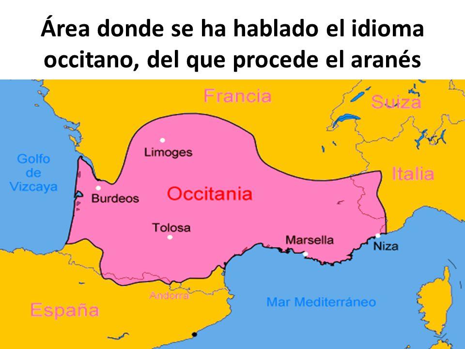 Área donde se ha hablado el idioma occitano, del que procede el aranés